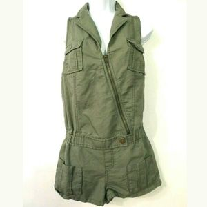 We the Free linen cargo utility romper Olive
